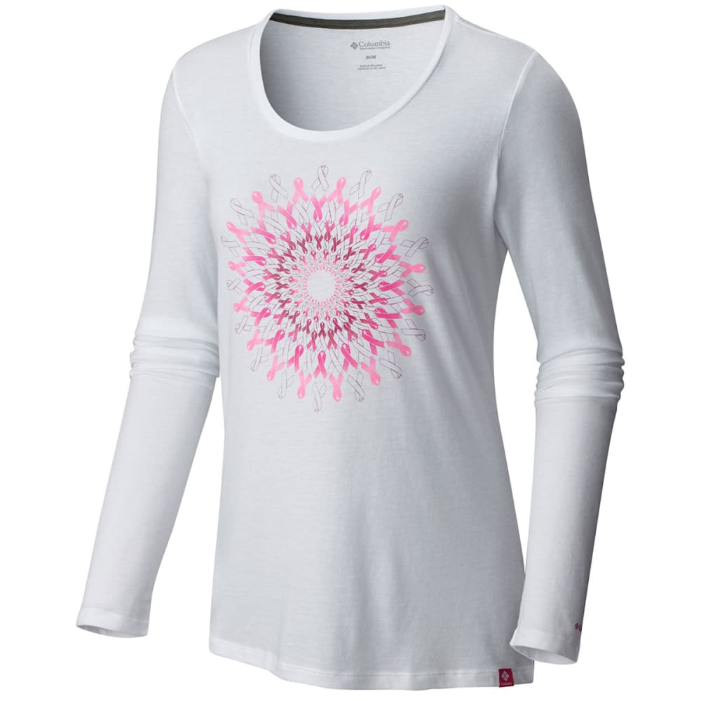 COLUMBIA Women's Tested Tough In Pink™ Medallion Long-Sleeve Tee - 100-WHITE