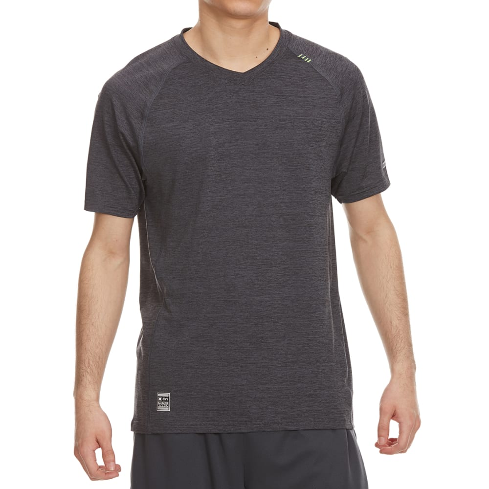 RBX Men's Poly/Span Heather V-Neck Short-Sleeve Tee - BLACK HTR-A