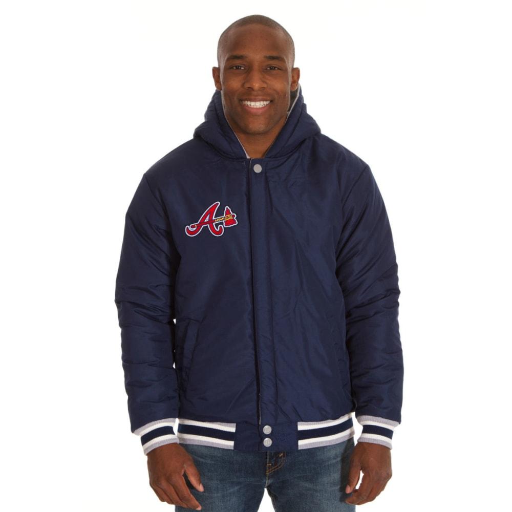 JH DESIGN  Men's MLB Atlanta Braves Reversible Fleece Hooded Jacket - GREY NAVY