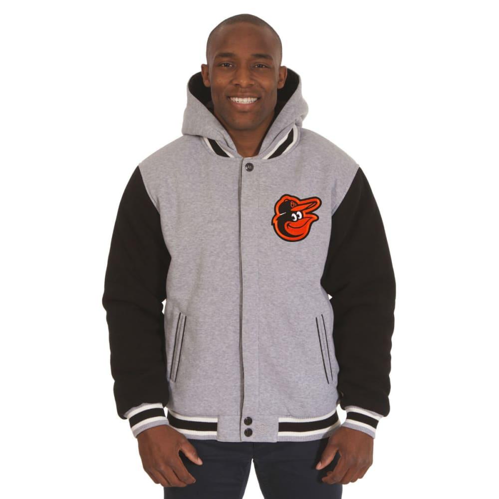 JH DESIGN Men's MLB Baltimore Orioles Reversible Fleece Hooded Jacket - GREY BLACK