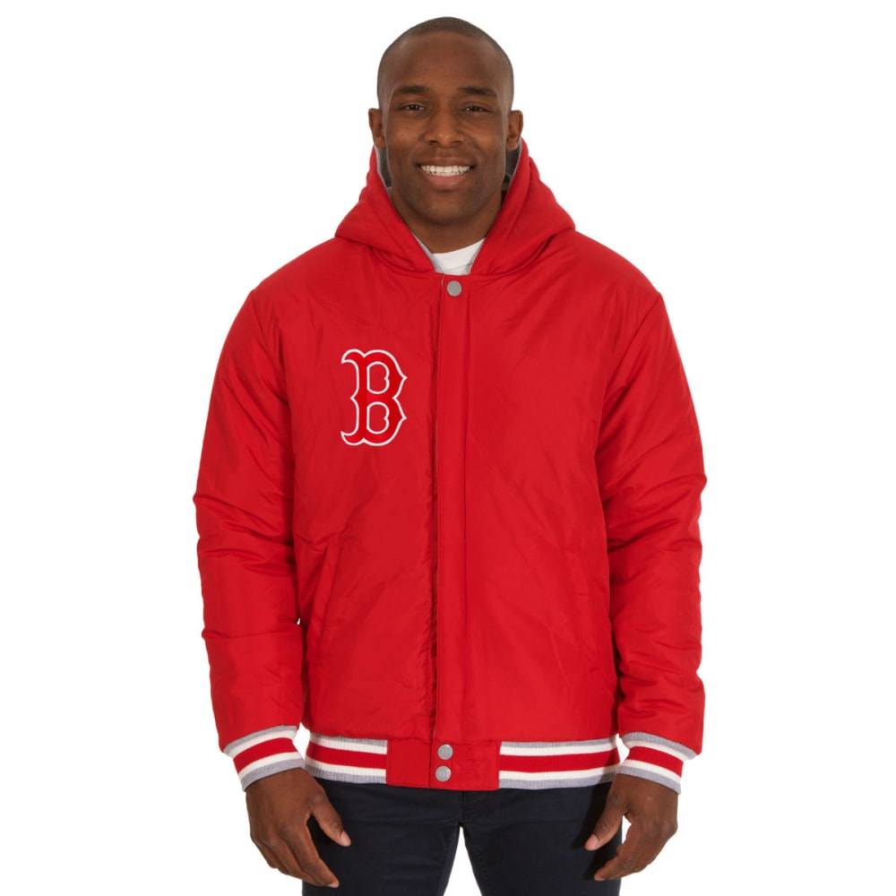 JH DESIGN Men's MLB Boston Red Sox Reversible Fleece Hooded Jacket - GREY RED