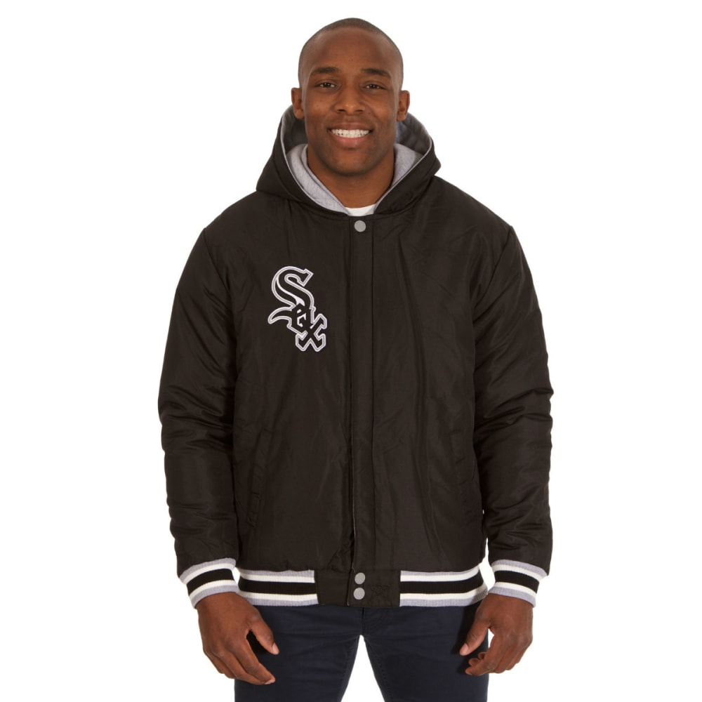 JH DESIGN Men's Chicago White Sox Reversible Fleece Hooded Jacket - GREY BLACK