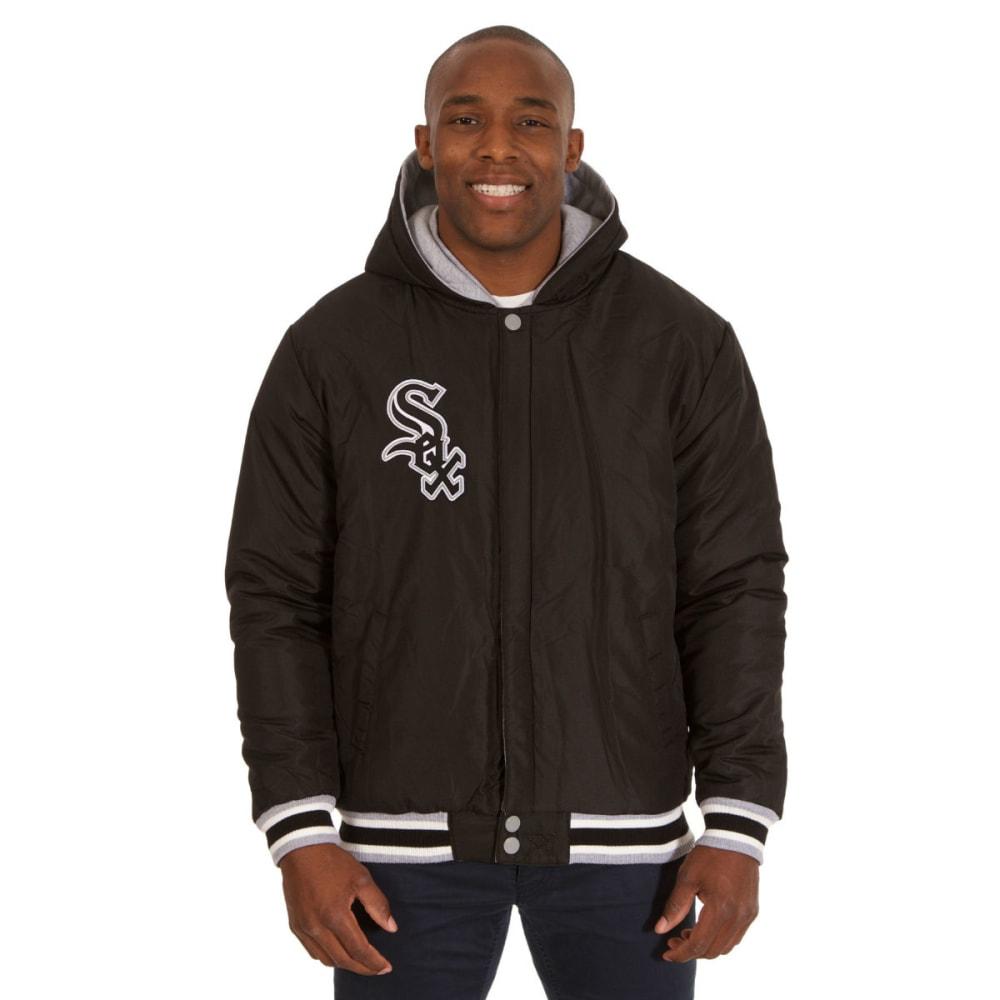 JH DESIGN Men's Chicago White Sox Reversible Fleece Hooded Jacket - GREY BLACK
