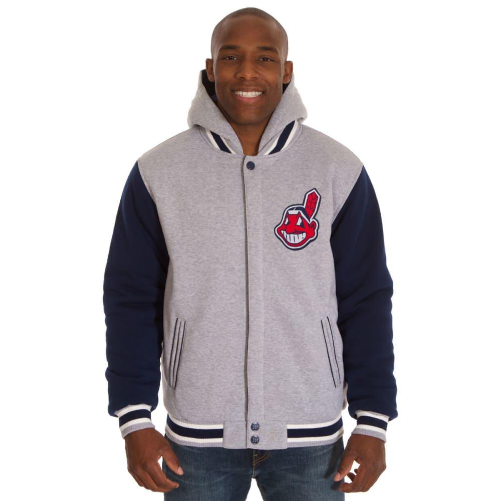 JH DESIGN Men's MLB Cleveland Indians Reversible Fleece Hooded Jacket - GREY NAVY