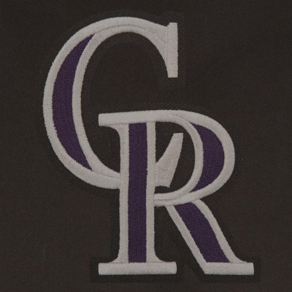 JH DESIGN Men's MLB Colorado Rockies Reversible Fleece Hooded Jacket - GREY BLACK