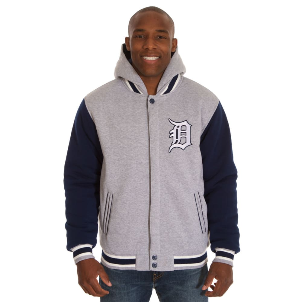 JH DESIGN Men's MLB Detroit Tigers Reversible Fleece Hooded Jacket - GREY NAVY