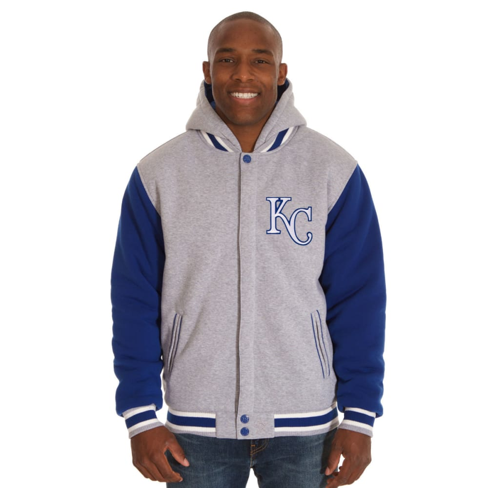 JH DESIGN Men's MLB Kansas City Royals Reversible Fleece Hooded Jacket - GREY ROYAL