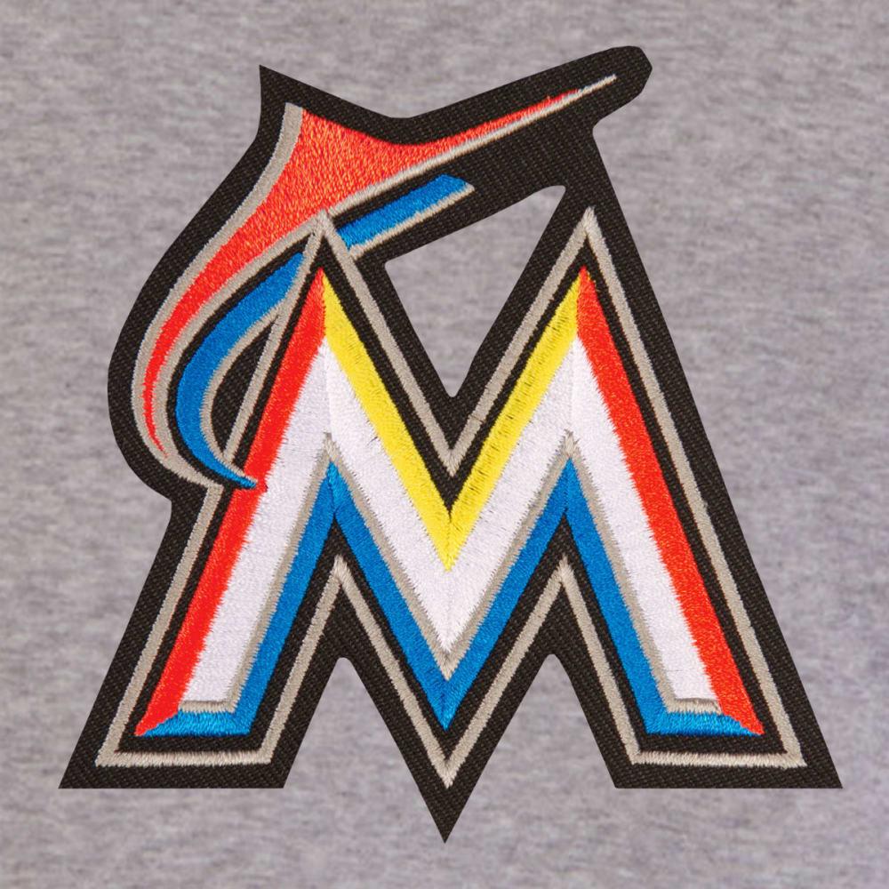 JH DESIGN Men's MLB Miami Marlins Reversible Fleece Hooded Jacket - GREY BLACK