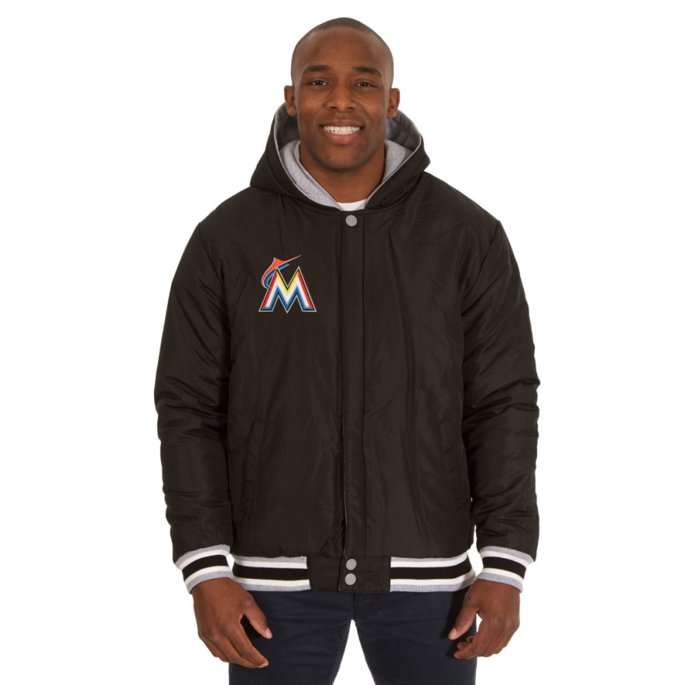 JH DESIGN Men's MLB Miami Marlins Reversible Fleece Hooded Jacket - GREY BLACK