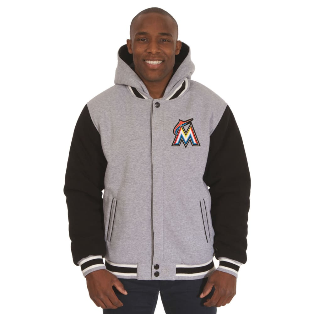 JH DESIGN Men's MLB Miami Marlins Reversible Fleece Hooded Jacket S