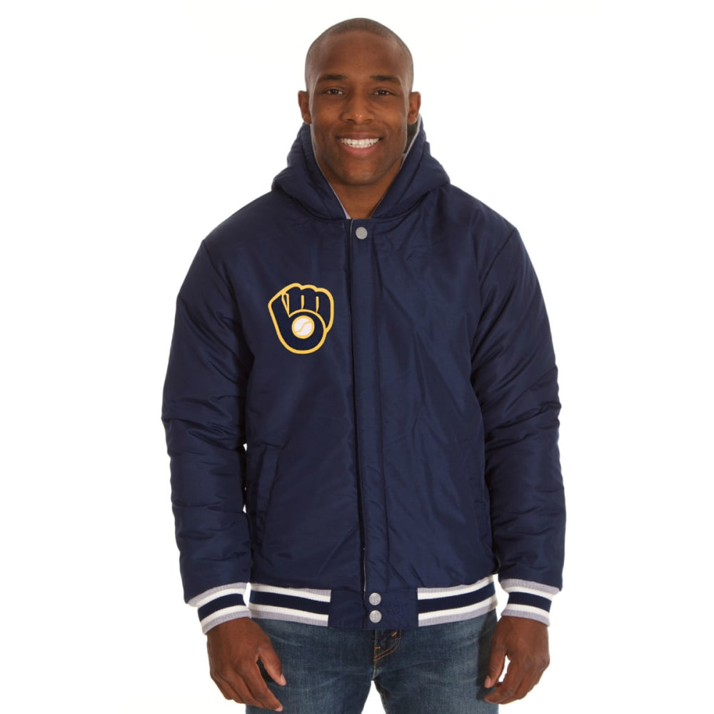 JH DESIGN Men's MLB Milwaukee Brewers Reversible Fleece Hooded Jacket - GREY NAVY