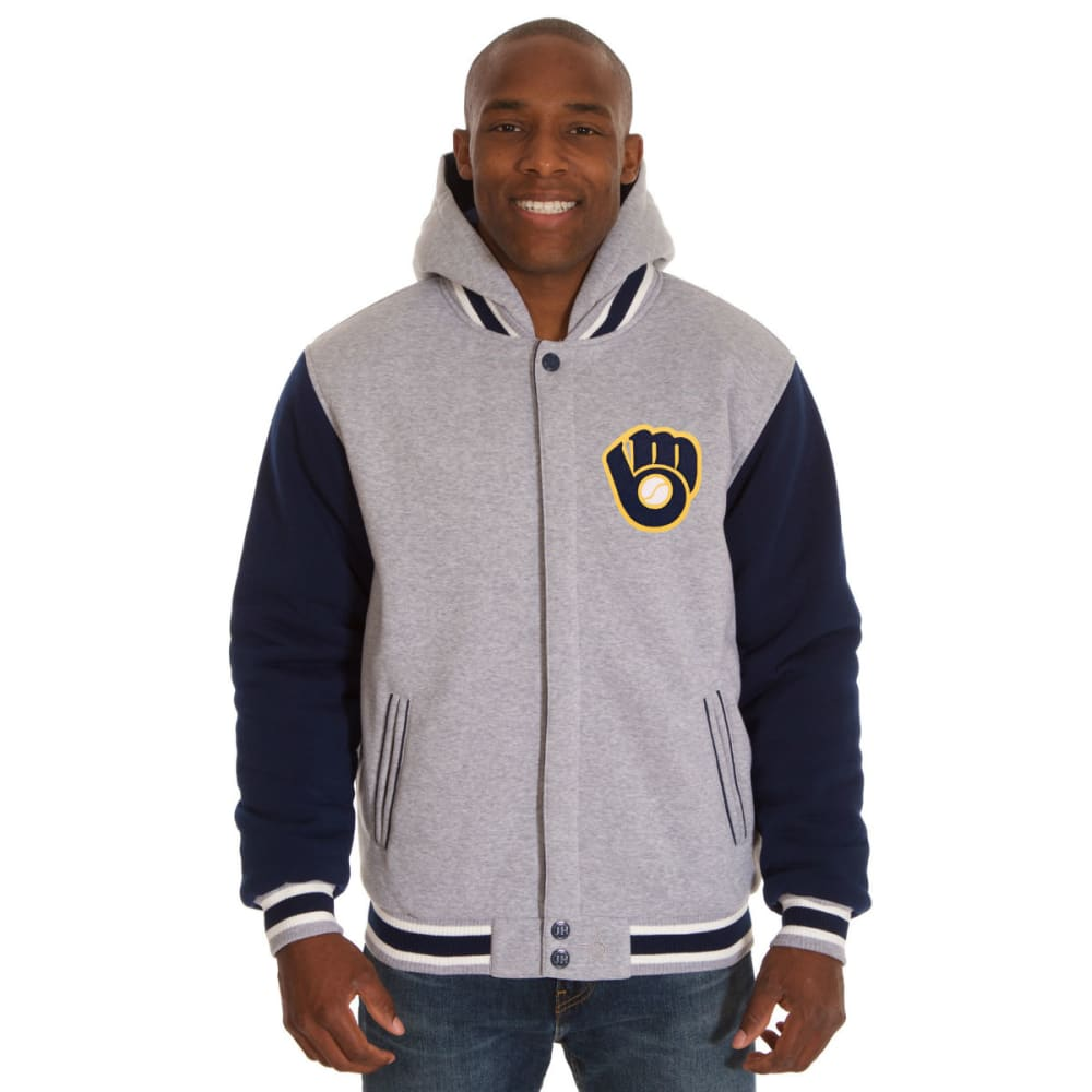 JH DESIGN Men's MLB Milwaukee Brewers Reversible Fleece Hooded Jacket S