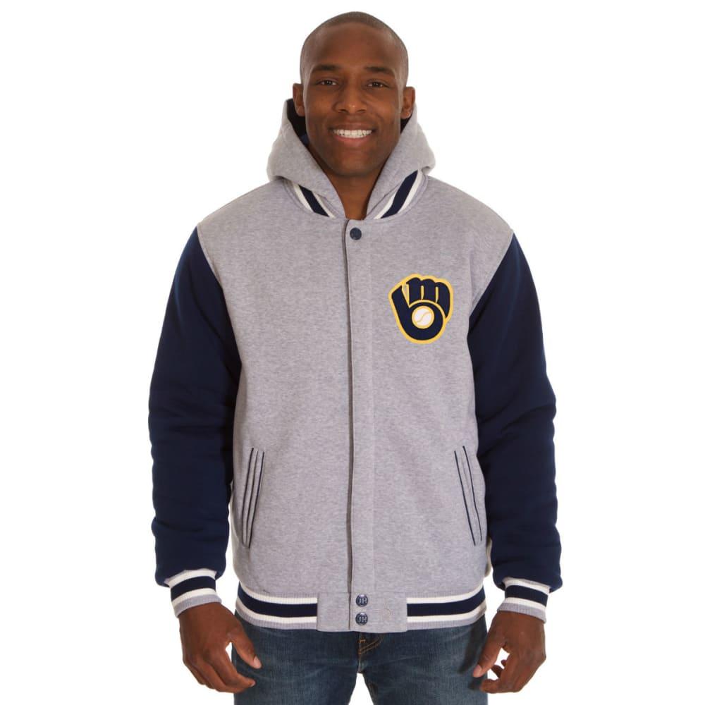 JH DESIGN Men's MLB Milwaukee Brewers Reversible Fleece Hooded Jacket - GREY NAVY