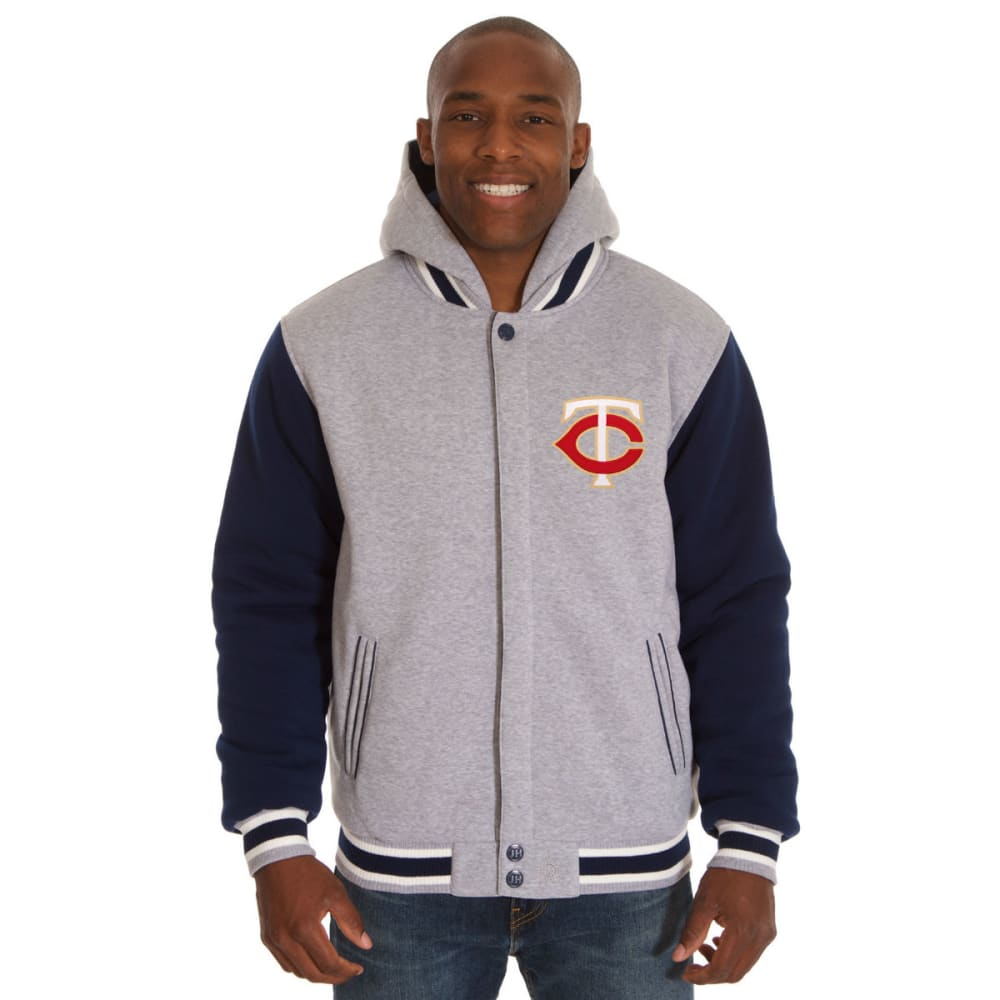 JH DESIGN Men's MLB Minnesota Twins Reversible Fleece Hooded Jacket - GREY NAVY
