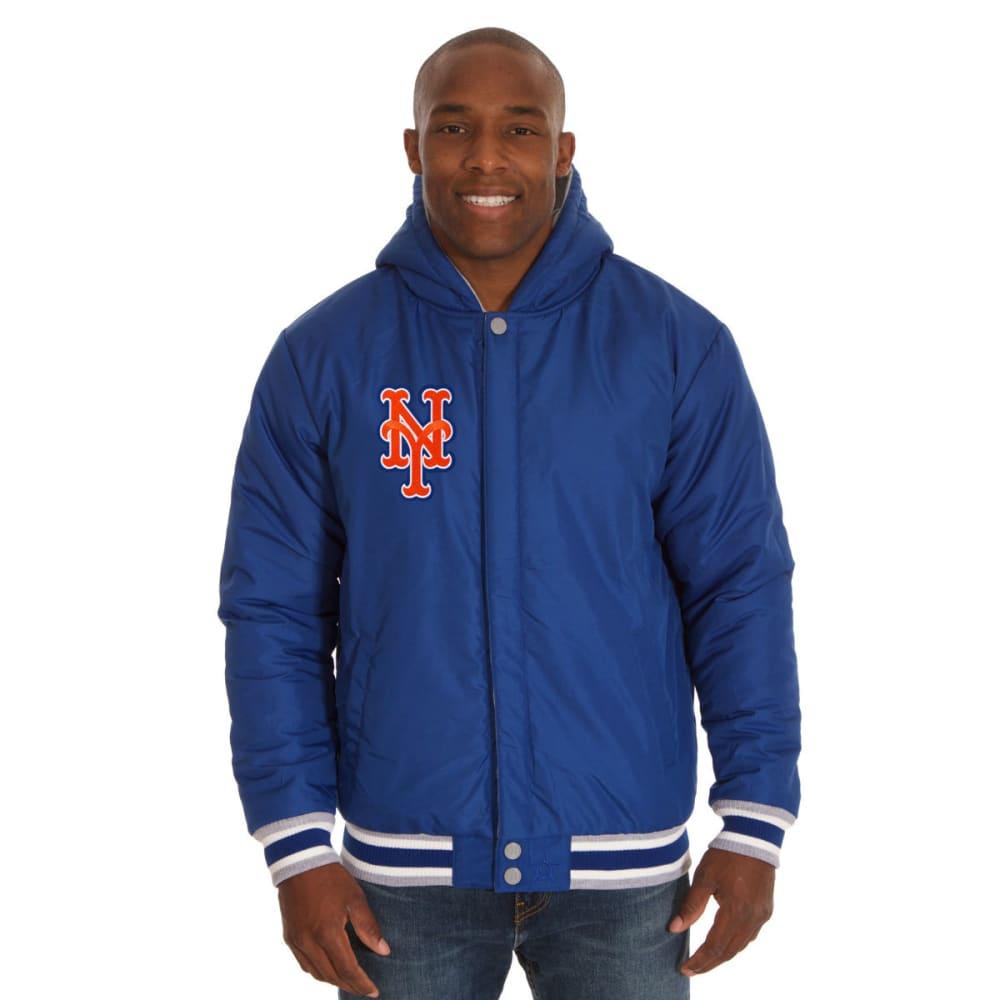 JH DESIGN Men's MLB New York Mets Reversible Fleece Hooded Jacket - GREY ROYAL