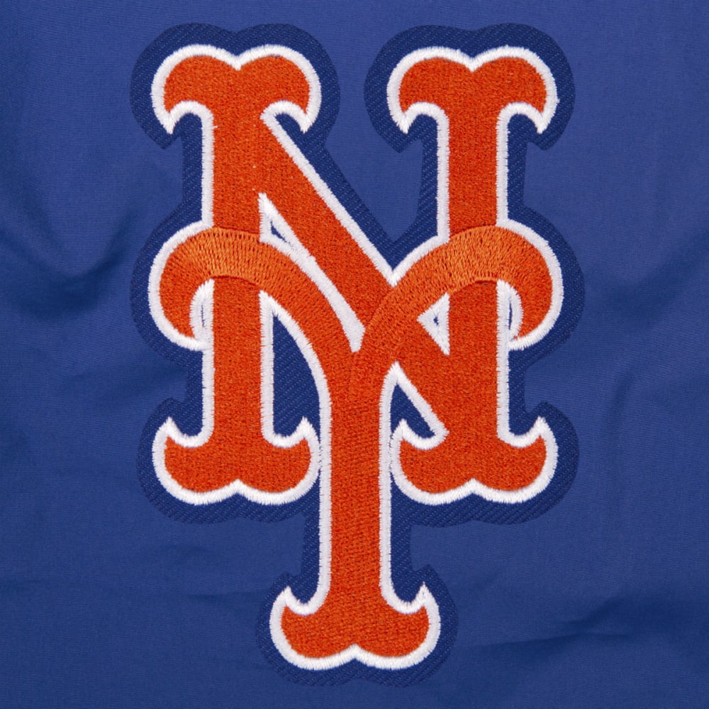 JH DESIGN Men's MLB New York Mets Reversible Fleece Hooded Jacket - GREY ROYAL