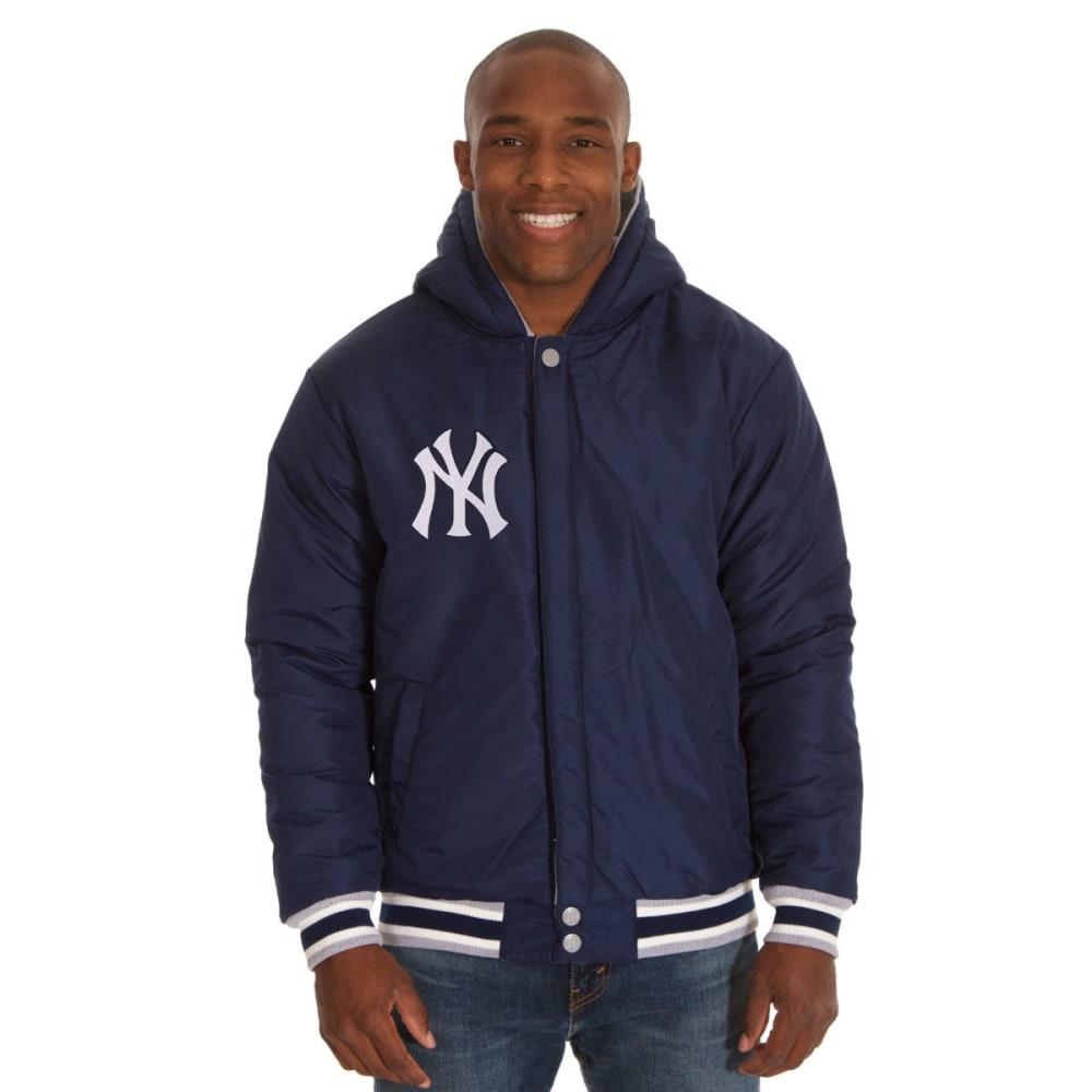 JH DESIGN Men's MLB New York Yankees Reversible Fleece Hooded Jacket - GREY NAVY