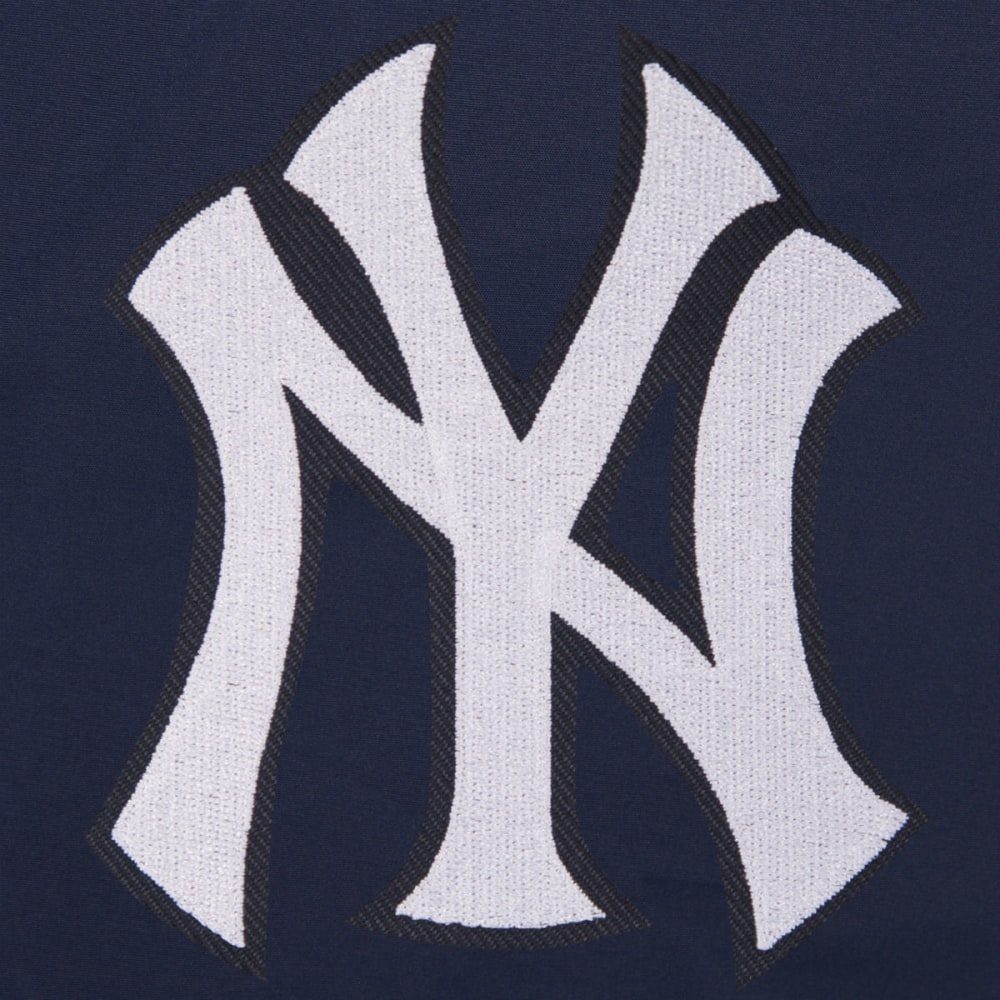 JH DESIGN Men's MLB New York Yankees Reversible Fleece Hooded Jacket - GREY NAVY