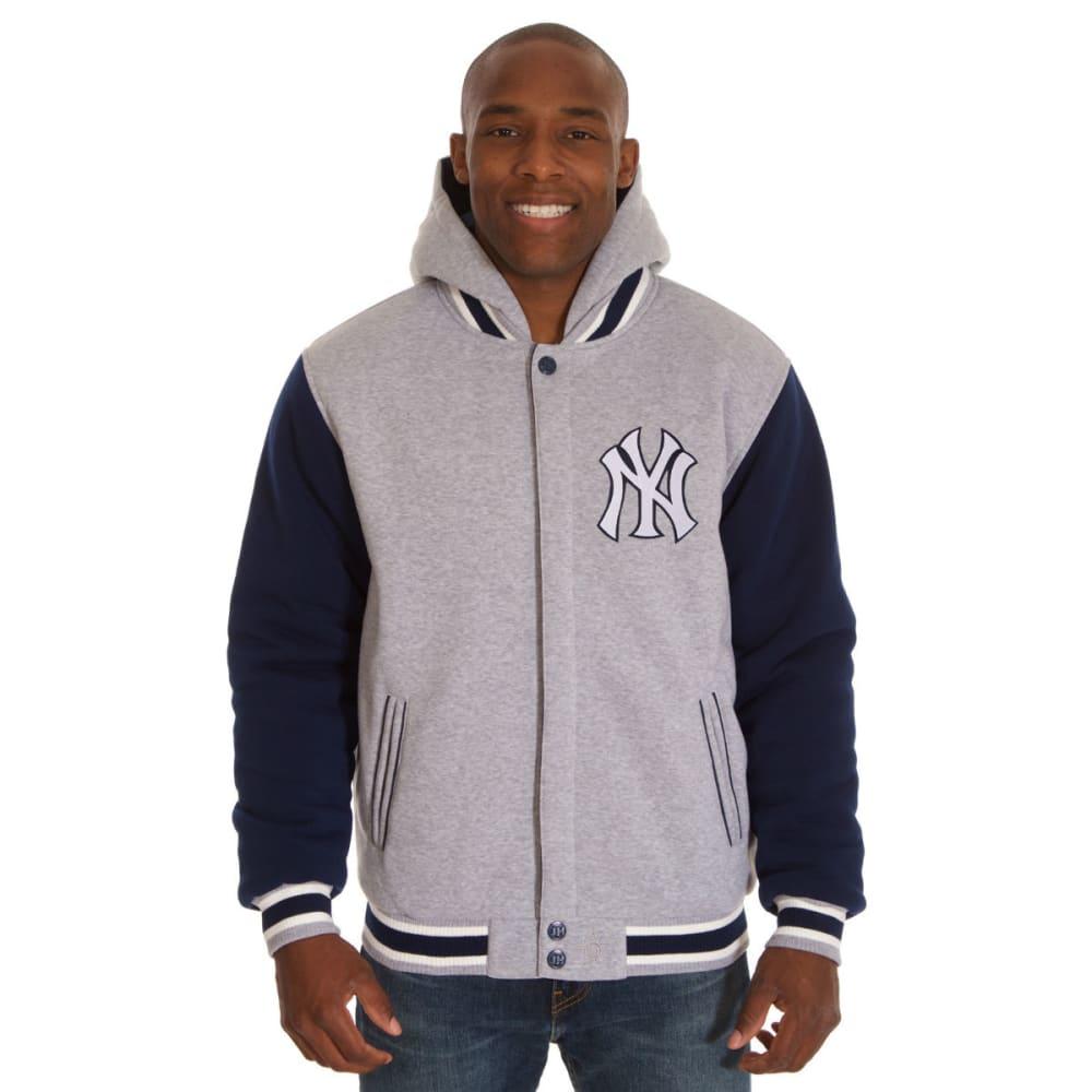 JH DESIGN Men's MLB New York Yankees Reversible Fleece Hooded Jacket S