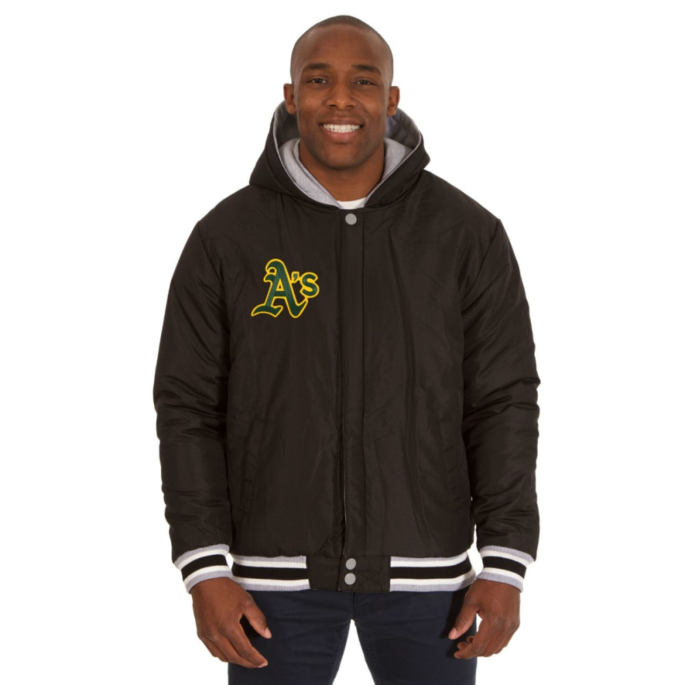 JH DESIGN Men's MLB Oakland A's Reversible Fleece Hooded Jacket - GREY BLACK
