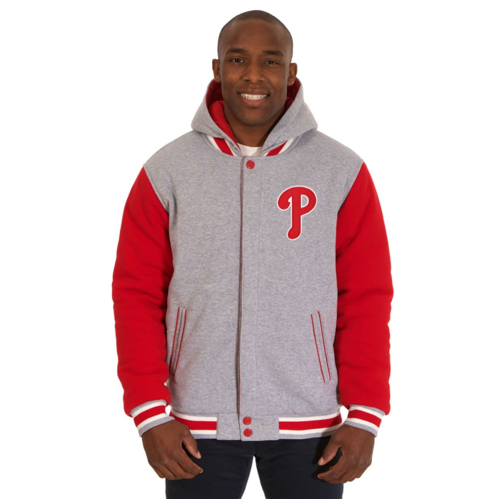JH DESIGN Men's MLB Philadelphia Phillies Reversible Fleece Hooded Jacket - GREY RED