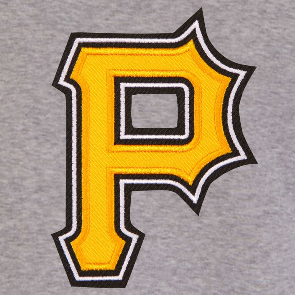 JH DESIGN Men's MLB Pittsburgh Pirates Reversible Fleece Hooded Jacket - GREY BLACK