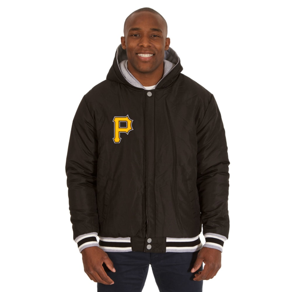 JH DESIGN Men's MLB Pittsburgh Pirates Reversible Fleece Hooded Jacket - GREY BLACK