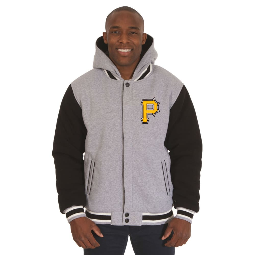 JH DESIGN Men's MLB Pittsburgh Pirates Reversible Fleece Hooded Jacket S