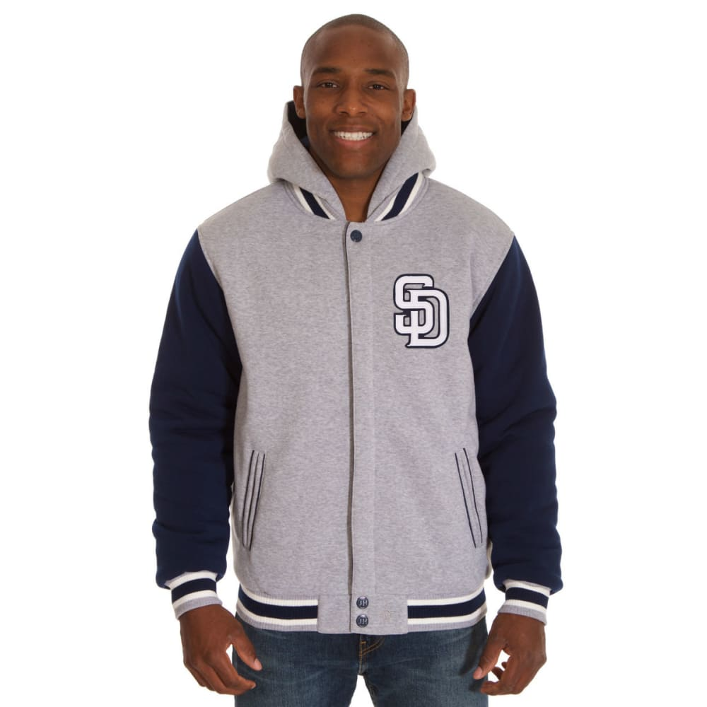 SAN DIEGO PADRES Men's Two Tone Reversible Fleece Hooded Jacket - GREY NAVY