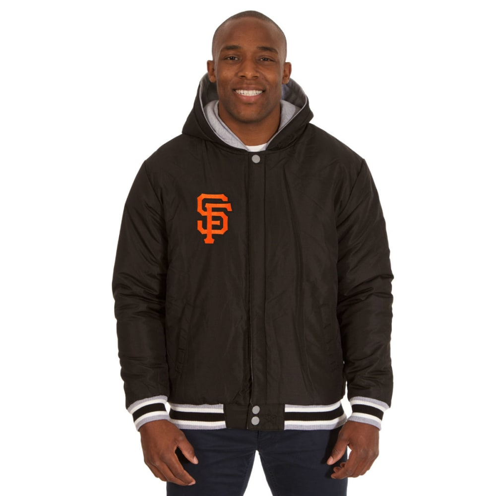 JH DESIGN Men's MLB San Francisco Giants Reversible Fleece Hooded Jacket - GREY BLACK