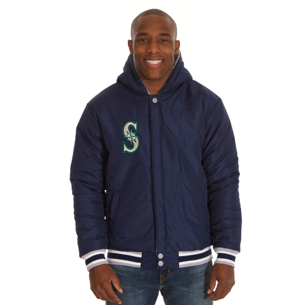 JH DESIGN Men's MLB Seattle Mariners Reversible Fleece Hooded Jacket - GREY NAVY