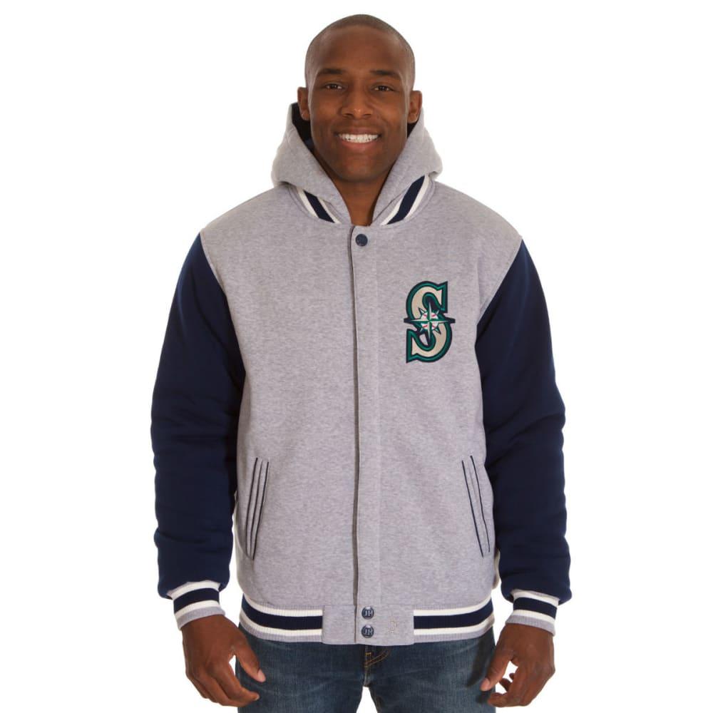 JH DESIGN Men's MLB Seattle Mariners Reversible Fleece Hooded Jacket - GREY NAVY