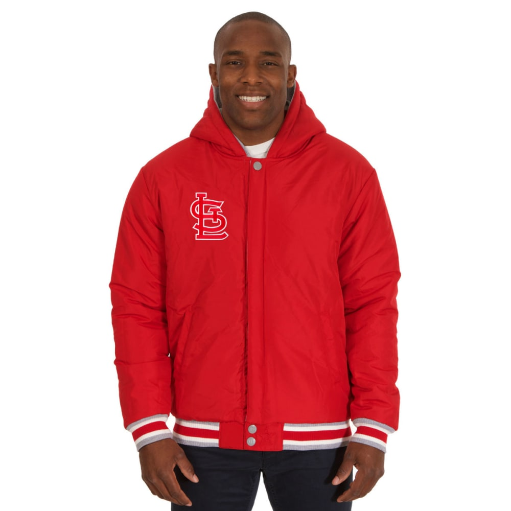 JH DESIGN Men's MLB St. Louis Cardinals Reversible Fleece Hooded Jacket - GREY RED