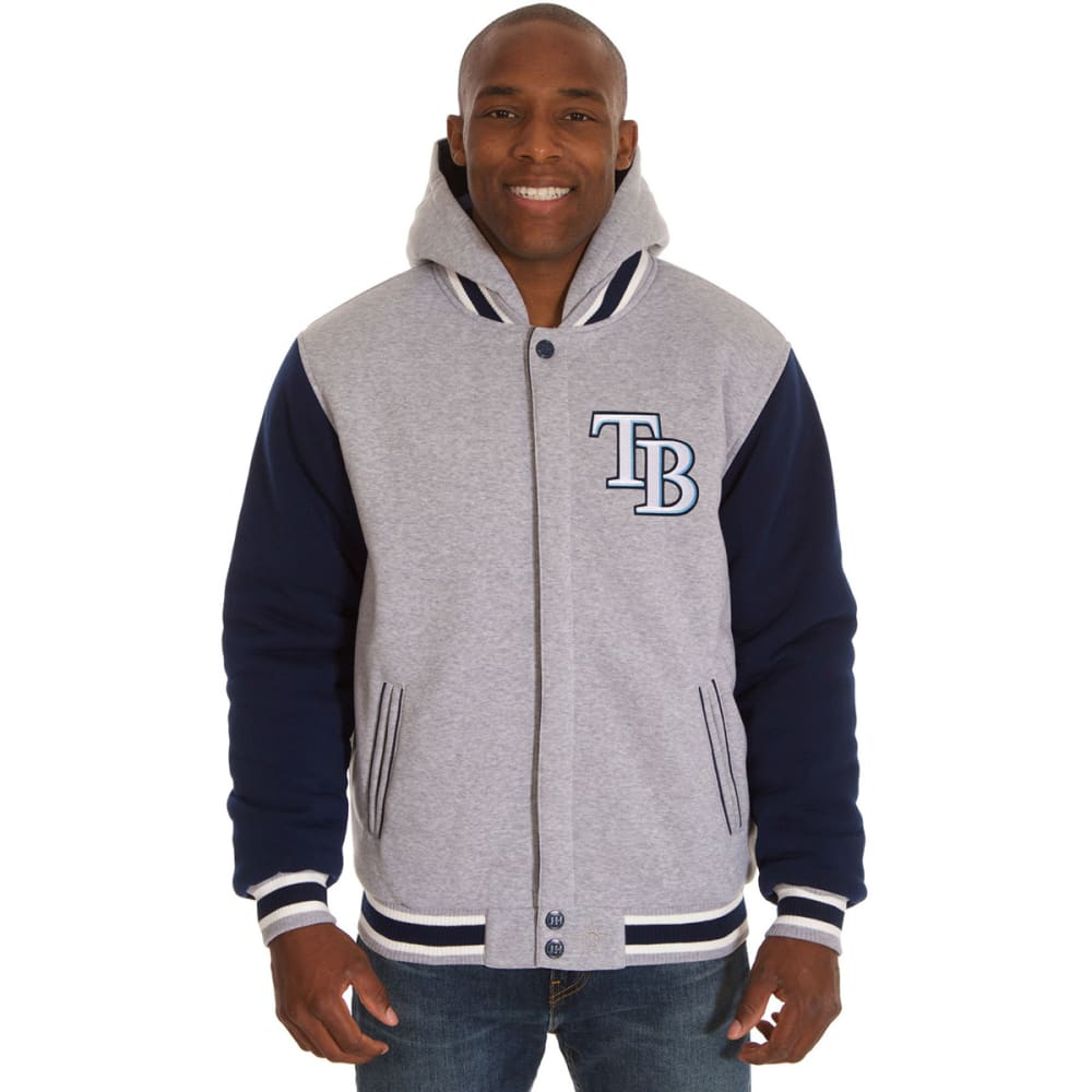 JH DESIGN Men's MLB Tampa Bay Rays Reversible Fleece Hooded Jacket - GREY NAVY