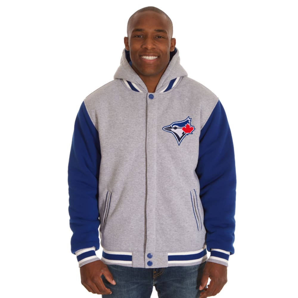JH DESIGN Men's MLB Toronto Blue Jays Reversible Fleece Hooded Jacket - GREY ROYAL