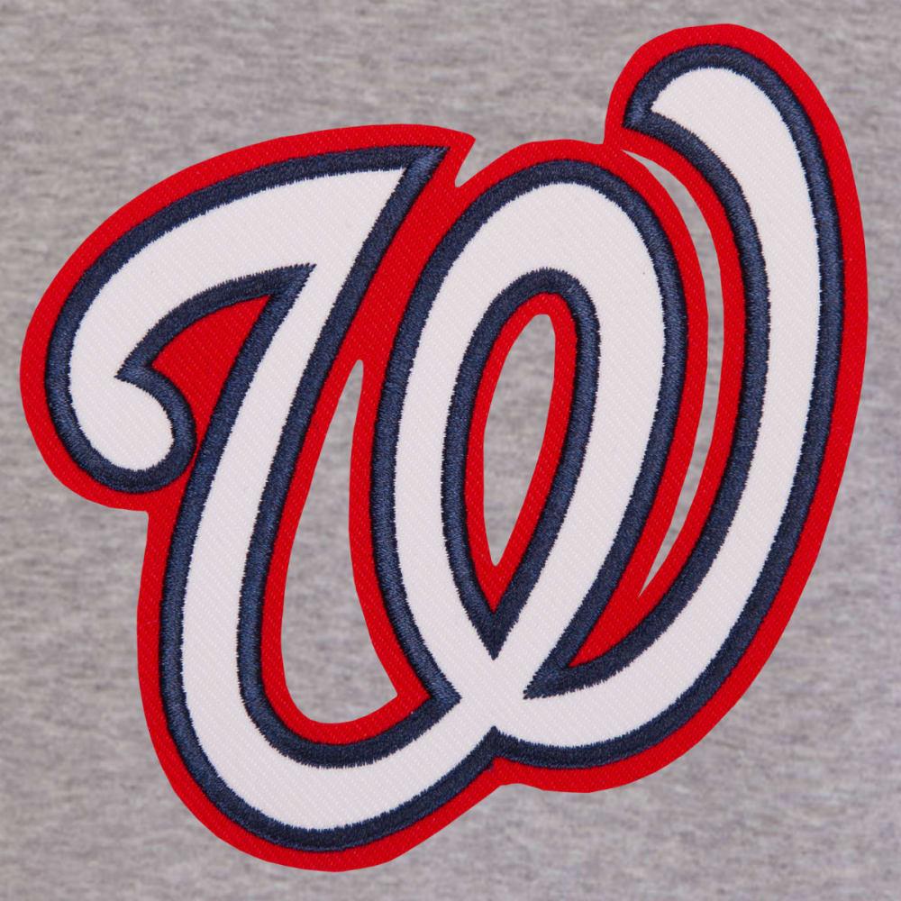 JH DESIGN Men's MLB Washington Nationals Reversible Fleece Hooded Jacket - GREY RED