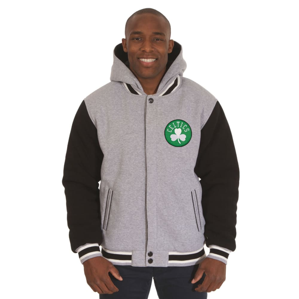 JH DESIGN Men's NBA Boston Celtics Reversible Fleece Hooded Jacket - GREY BLACK