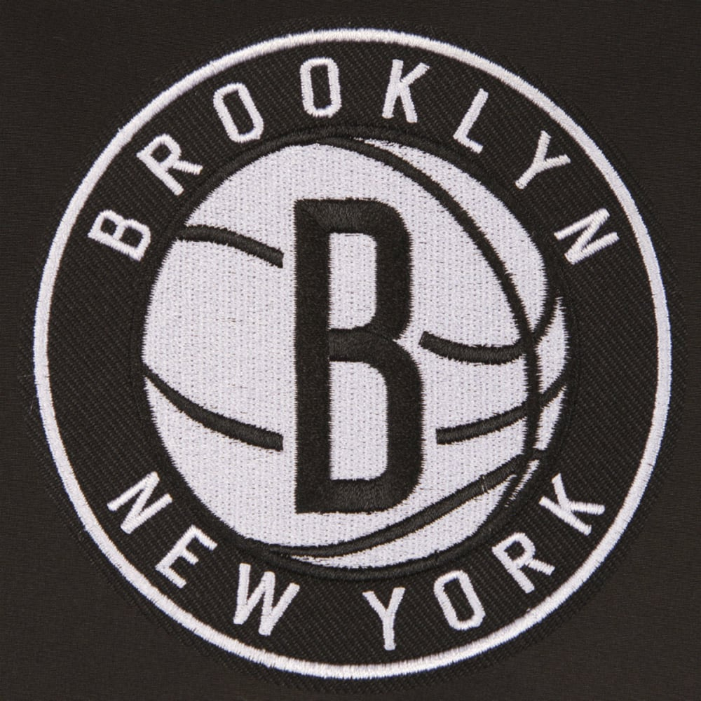 JH DESIGN Men's NBA Brooklyn Nets Reversible Fleece Hooded Jacket - GREY BLACK