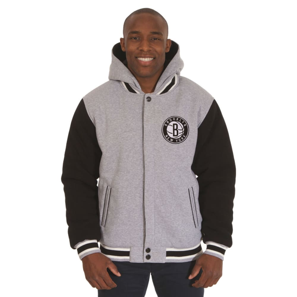 JH DESIGN Men's NBA Brooklyn Nets Reversible Fleece Hooded Jacket S