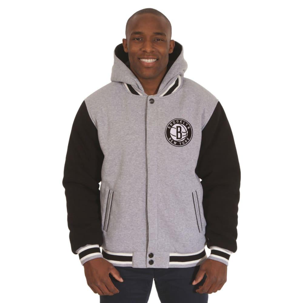 JH DESIGN Men's NBA Brooklyn Nets Reversible Fleece Hooded Jacket - GREY BLACK