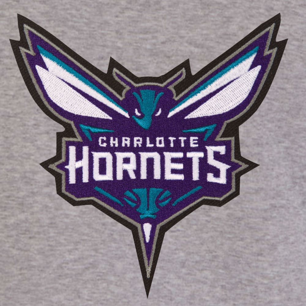 JH DESIGN Men's NBA Charlotte Hornets Reversible Fleece Hooded Jacket - GREY BLACK