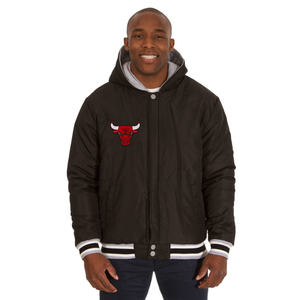 JH DESIGN Men's NBA Chicago Bulls Reversible Fleece Hooded Jacket - GREY BLACK