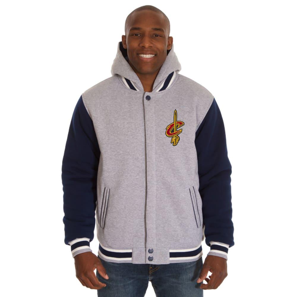 JH DESIGN Men's NBA Cleveland Cavaliers Reversible Fleece Hooded Jacket - GREY NAVY