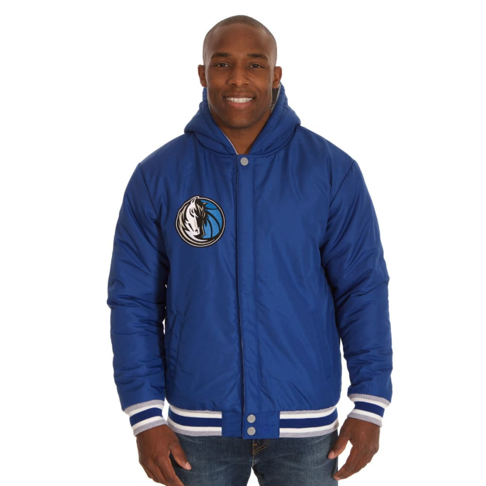 JH DESIGN Men's NBA Dallas Mavericks Reversible Fleece Hooded Jacket - GREY ROYAL