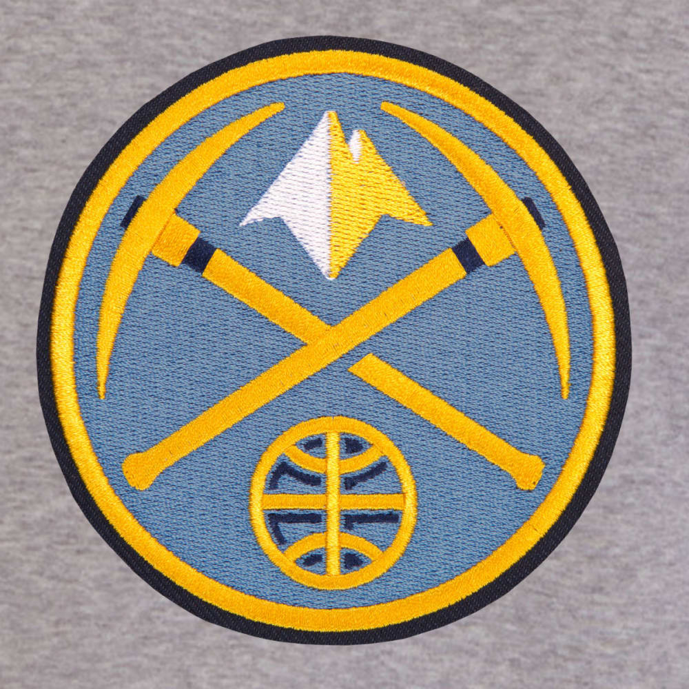 JH DESIGN Men's NBA Denver Nuggets Reversible Fleece Hooded Jacket - GREY NAVY