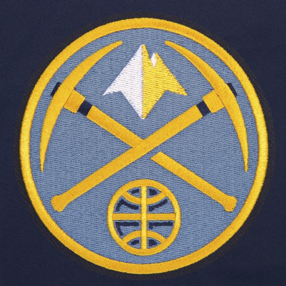 JH DESIGN Men's NBA Denver Nuggets Reversible Fleece Hooded Jacket - GREY NAVY