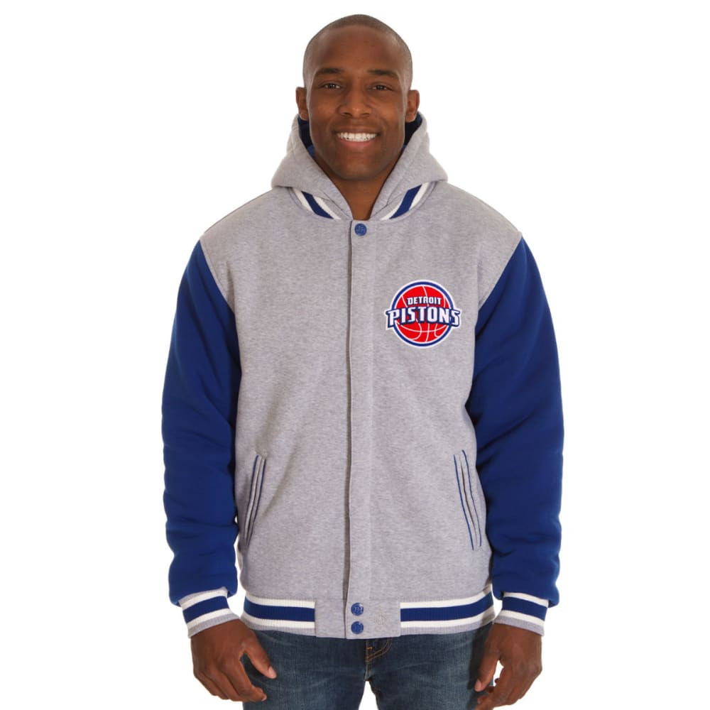 JH DESIGN Men's NBA Detroit Pistons Reversible Fleece Hooded Jacket - GREY ROYAL