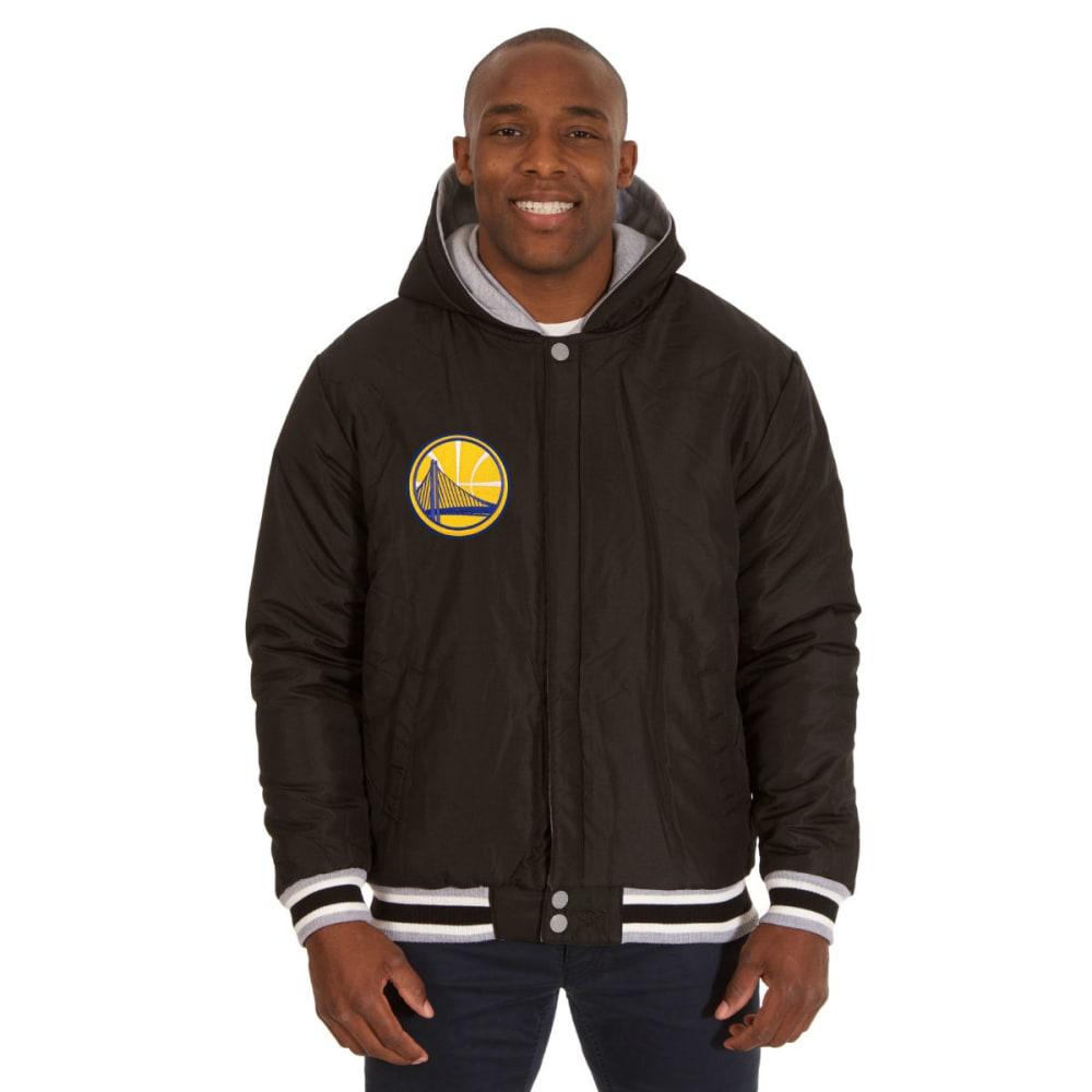 JH DESIGN Men's NBA Golden State Warriors Reversible Fleece Hooded Jacket - GREY BLACK
