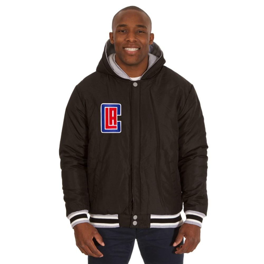 JH DESIGN Men's NBA Los Angeles Clippers Reversible Fleece Hooded Jacket - GREY BLACK