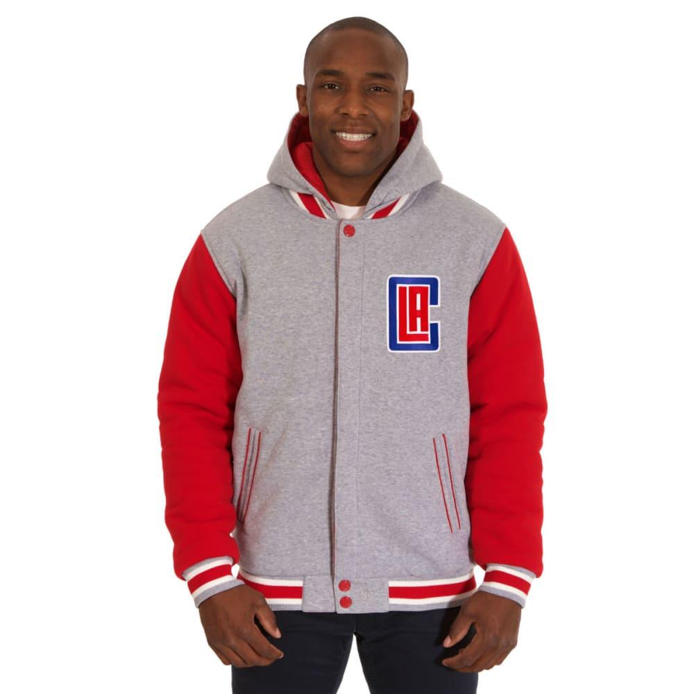 JH DESIGN Men's NBA Los Angeles Clippers Reversible Fleece Hooded Jacket S